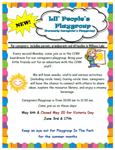 Lil' People's Playgroup @ Child Care Resource and Referral | Williams Lake | British Columbia | Canada