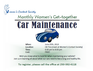 Women's Monthly Get-together - Car Maintenance @ OK Tire - meet at Women's Contact Society