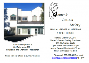 Annual General Meeting & Open House @ Women's Contact Society - New Location | Williams Lake | British Columbia | Canada