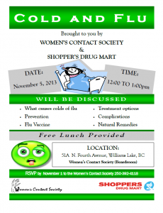 Cold & Flu Workshop @ Women's Contact Society Boardroom | Williams Lake | British Columbia | Canada
