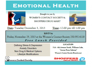 Emotional Health Noon Hour Workshop - Dec. 3/13 @ Women's Contact Society Boardroom | Williams Lake | British Columbia | Canada