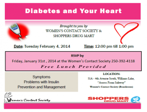 Noon Hour Workshop:  Diabetes and Your Heart @ Women's Contact Society Boardroom   Williams Lake   British Columbia   Canada