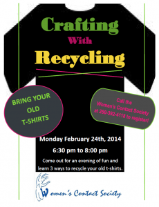 Crafting with Recycling:  T-Shirts @ Women's Contact Society Boardroom   Williams Lake   British Columbia   Canada