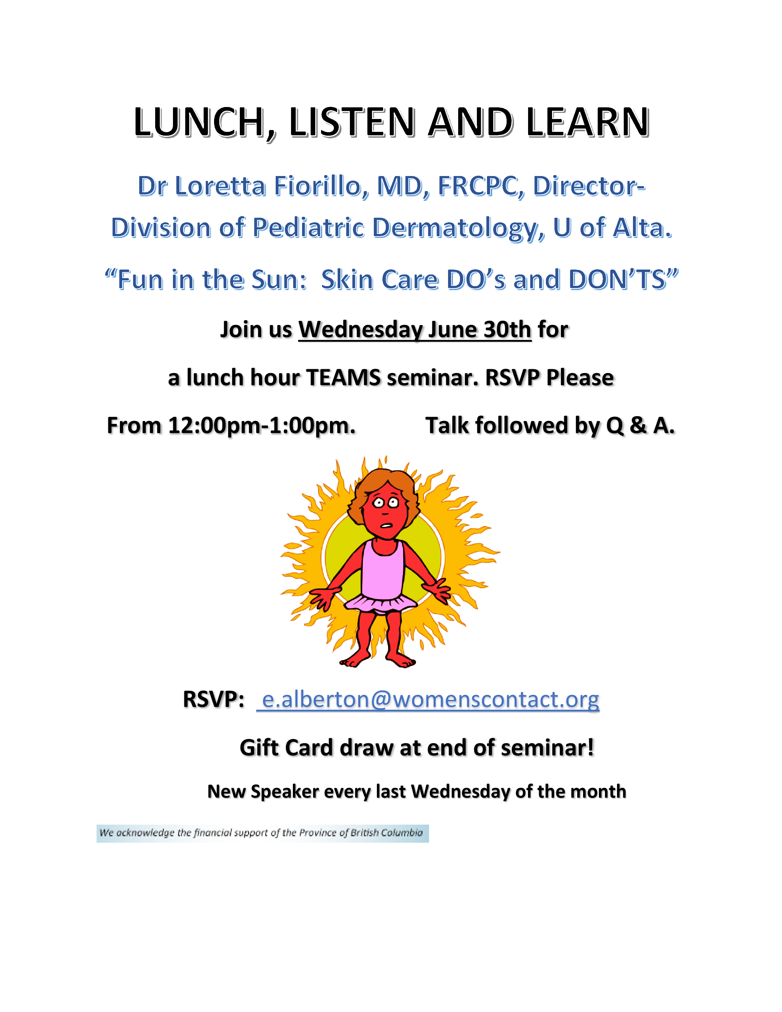 Lunch, Listen and Learn: Fun in the Sun, Skin Care Do's and Don'ts @ MS Teams
